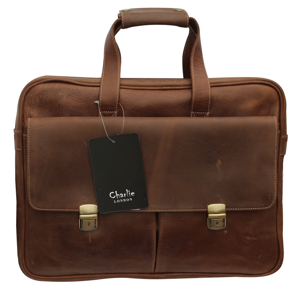 Brown Vintage Genuine Leather Laptop Bag