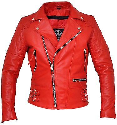 Classic Brando Red Armoured Motorcycle Leather Jacket