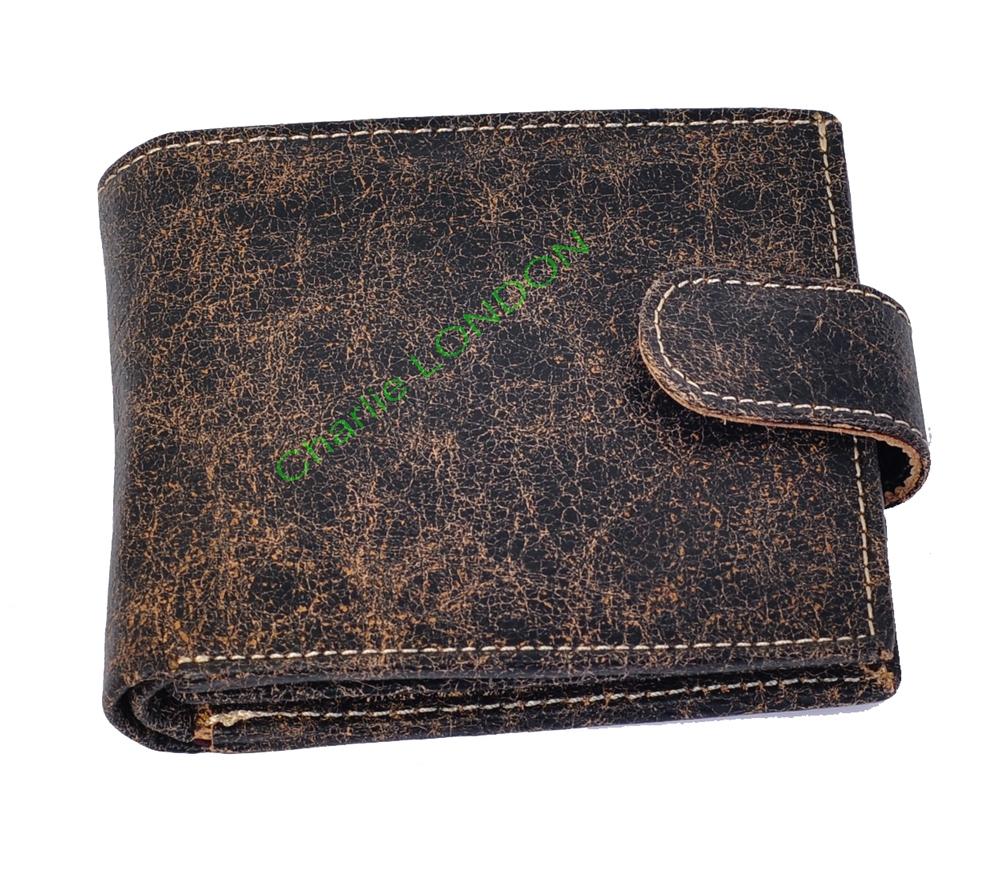 Men's Designer Leather Brown Cracker Wallet
