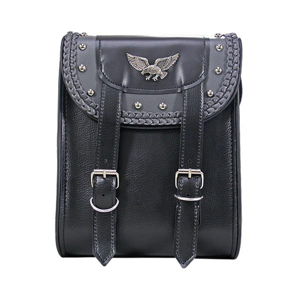 lack and Gray PVC Double Buckle with Eagle Sissy Bar Motorcycle Bag