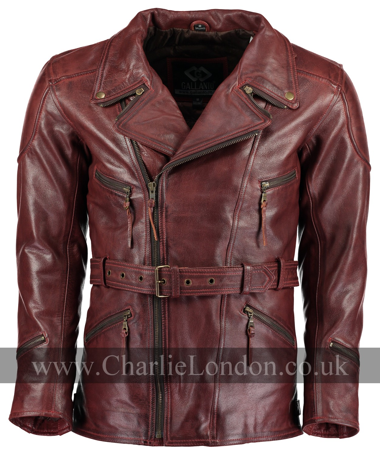 Eddie Vintage Red Long Leather Biker Jacket