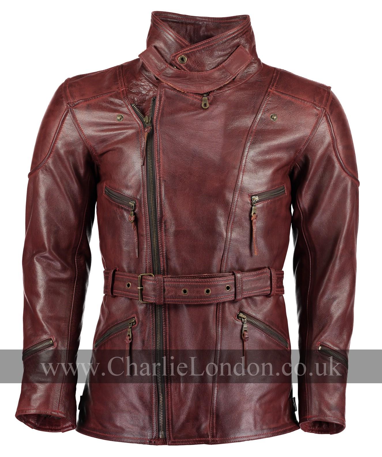 20efaf2cc05 Vintage Red Long Leather Biker Jacket