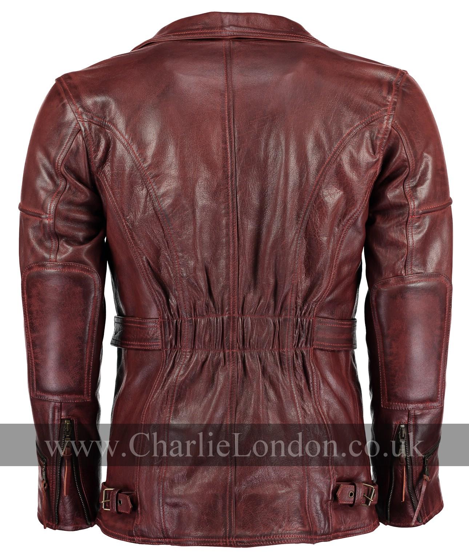 51487f86c02 Vintage Red Long Leather Biker Jacket   Charlie London - Leather ...