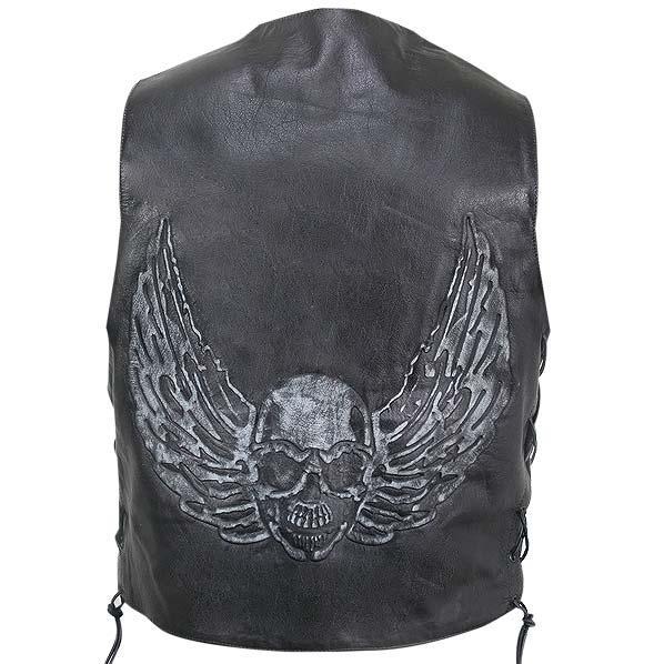 Men's Black Distressed Leather Biker Vest with Flying Skull Graphics
