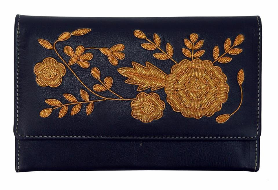 Handmade Gold Flowery Embroidery Black Leather Purse Wallet