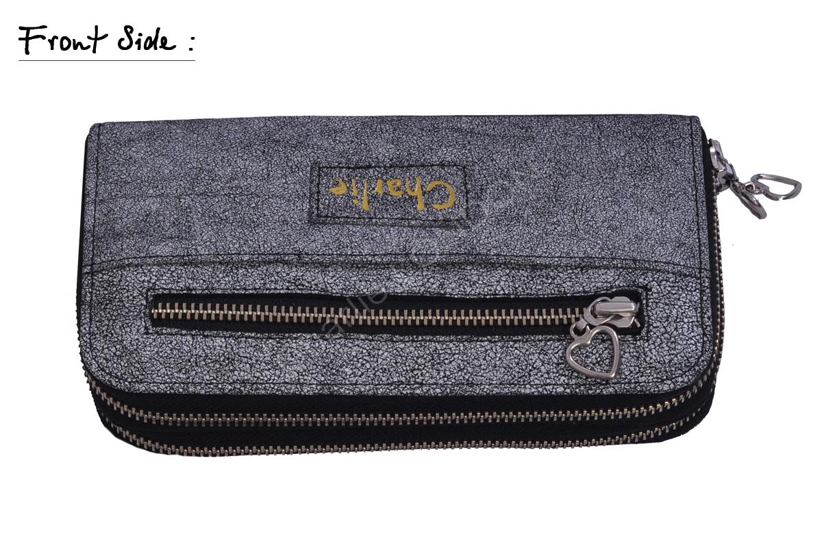 Charlie London Embossed Black White Genuine Leather Purse Wallet