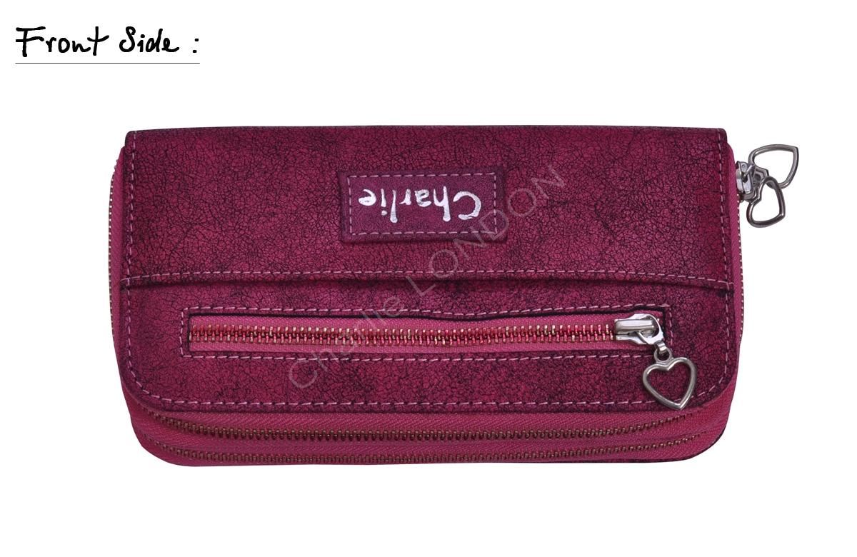 Ladies Pink Embossed Charlie London Leather Purse Wallet