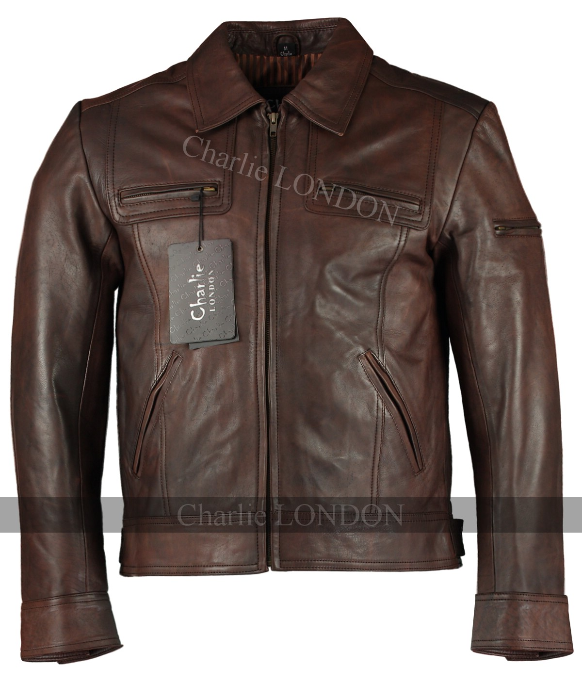 Mens Lynch Vintage Brown Leather Jacket