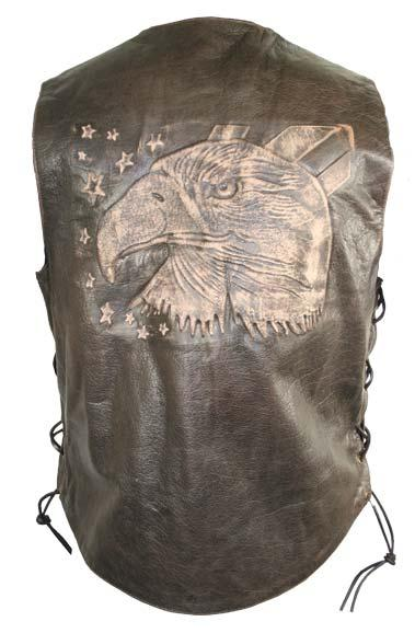 Men's Brown Leather Embossed Eagle Vest