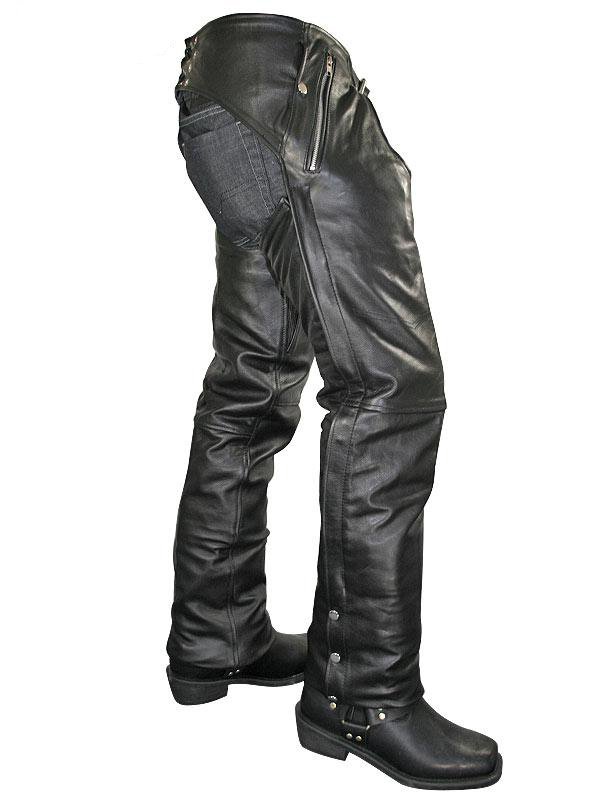 Men's Cowhide Leather Motorcycle Chaps with Removable Insulating Liner