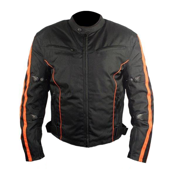 Men's Black and Orange Vented Fabric Level-3 Padded Jacket