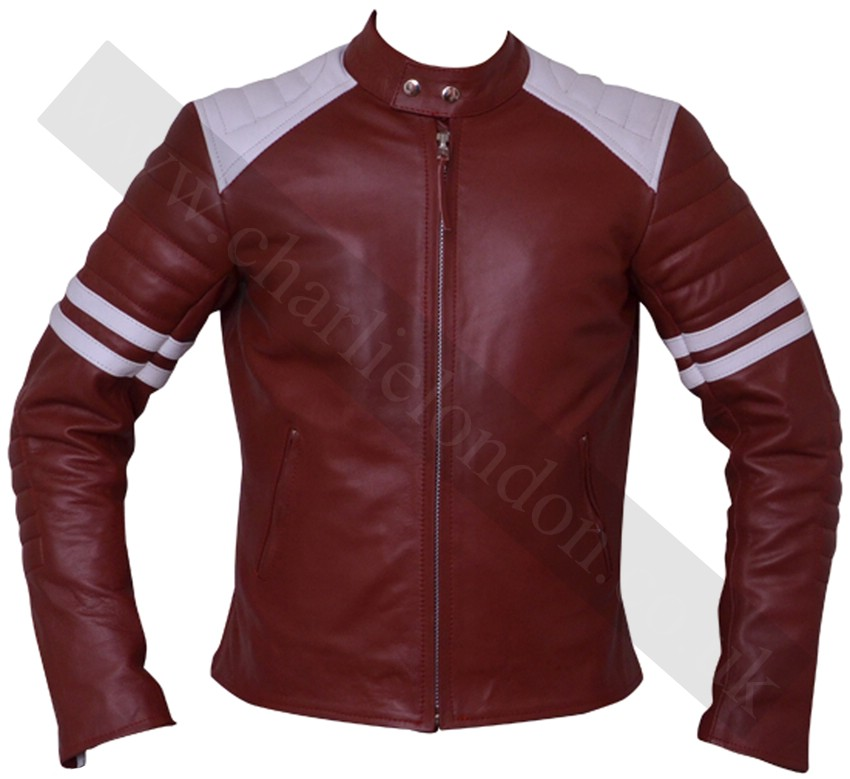 Fight Club Red and White Mayhem Leather Jacket