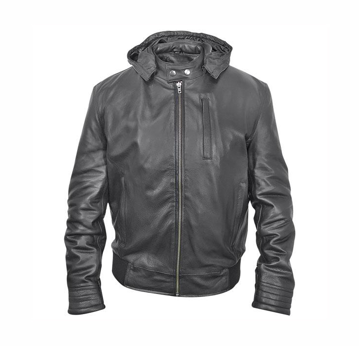 CL026 Mens Leather Jacket with Zip-Out Hood