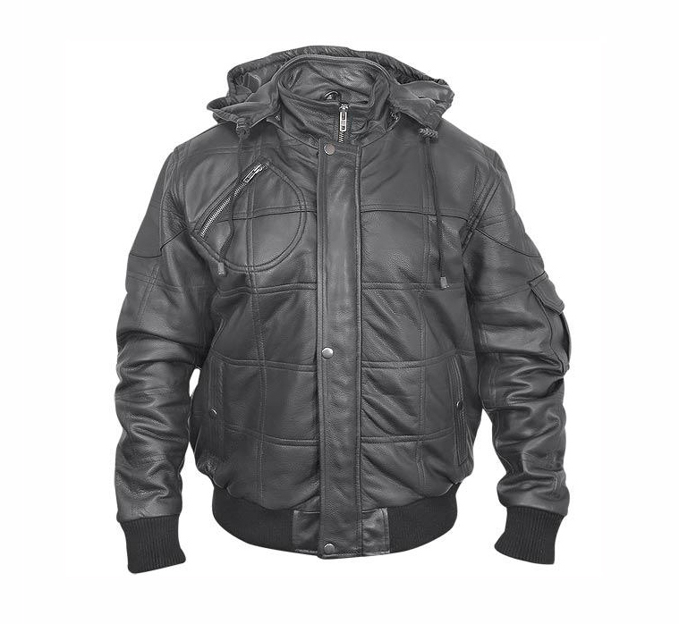 CL027 Mens Leather Jacket with Zip-Out Hood