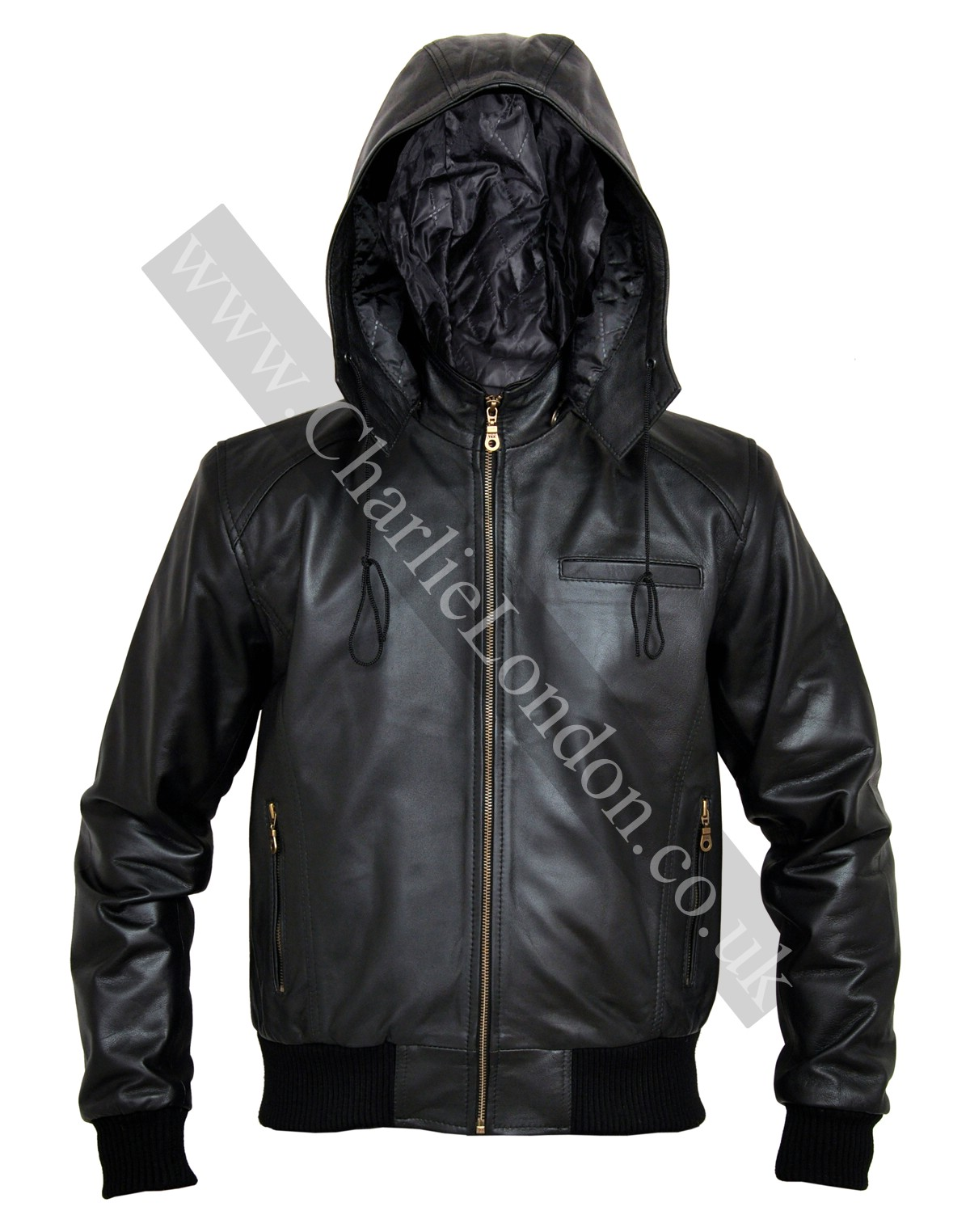 CL025 Mens Leather Jacket with Zip-Out Hood
