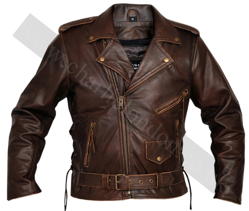Classic Men's TOP GRADE Brown Biker Motorcycle Jacket | Charlie ...