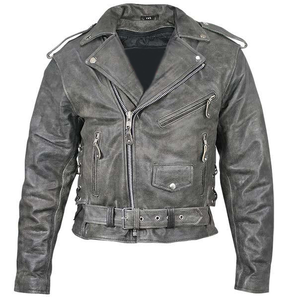 Distressed Leather Mens Belted Motorcycle Jacket