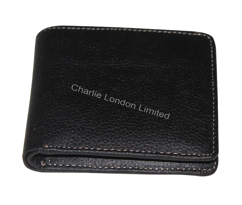 Gents Black Grain Genuine Leather Bifold Wallet