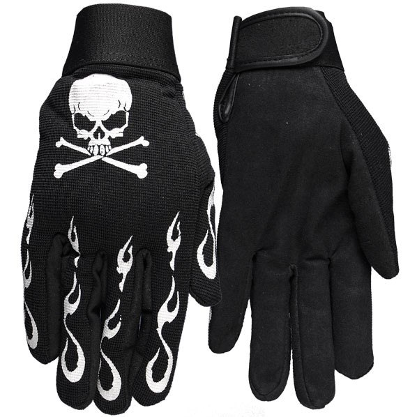 Mechanics Gloves With White Flames
