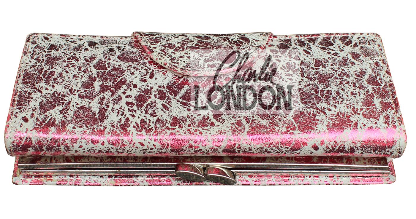 Women's Pink Metallic Clasp  Purse Wallets