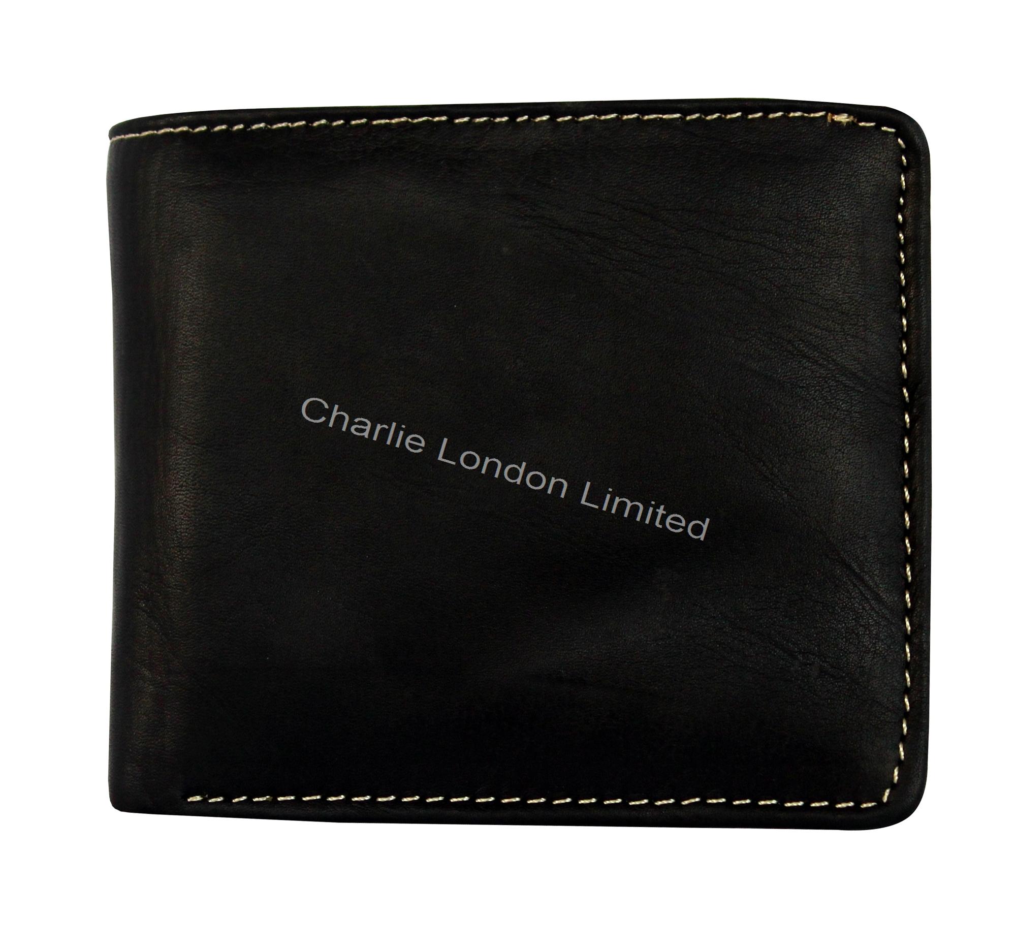 Men's Soft Black Designer Leather Trifold Wallet