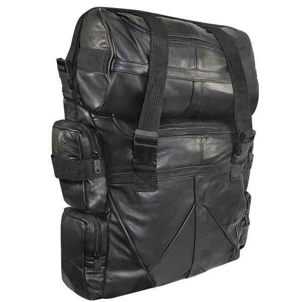 Large Deluxe Premium Top Grade Cowhide Leather Sissy Bar Bag System