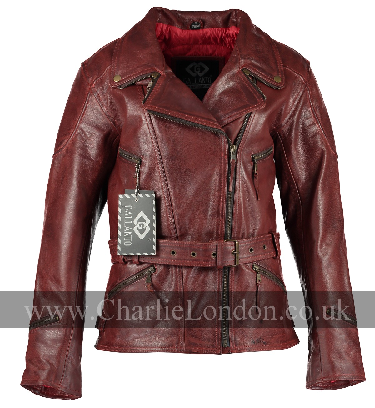 3/4 Long Demi Red Womens Biker Jacket