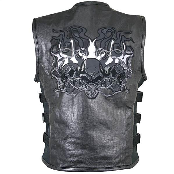 Men's Reflective Evil Triple Flaming Skulls Design Motorcycle Vest with Straps
