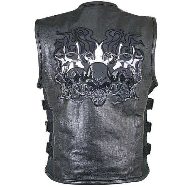 Men's Reflective Evil Triple Flaming Skulls Design Motorcycle Vest with Straps