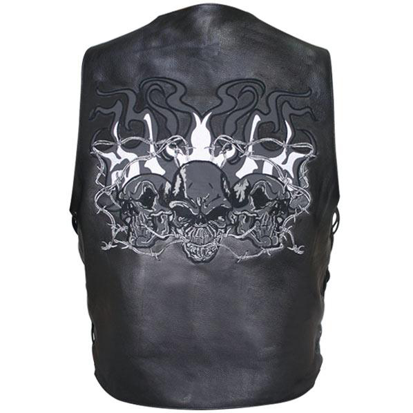 Men's Reflective Evil Triple Flaming Skulls Design Motorcycle Side Lace Leather Vest
