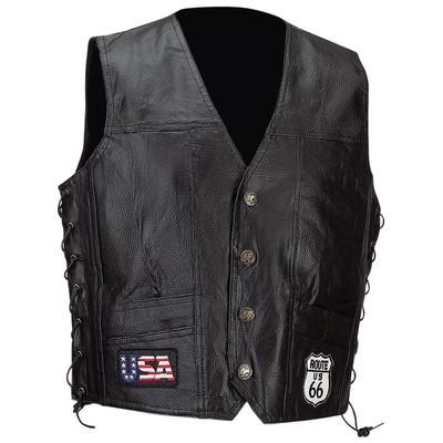 Genuine Cowhide Leather Biker Vest Route 66 Patch