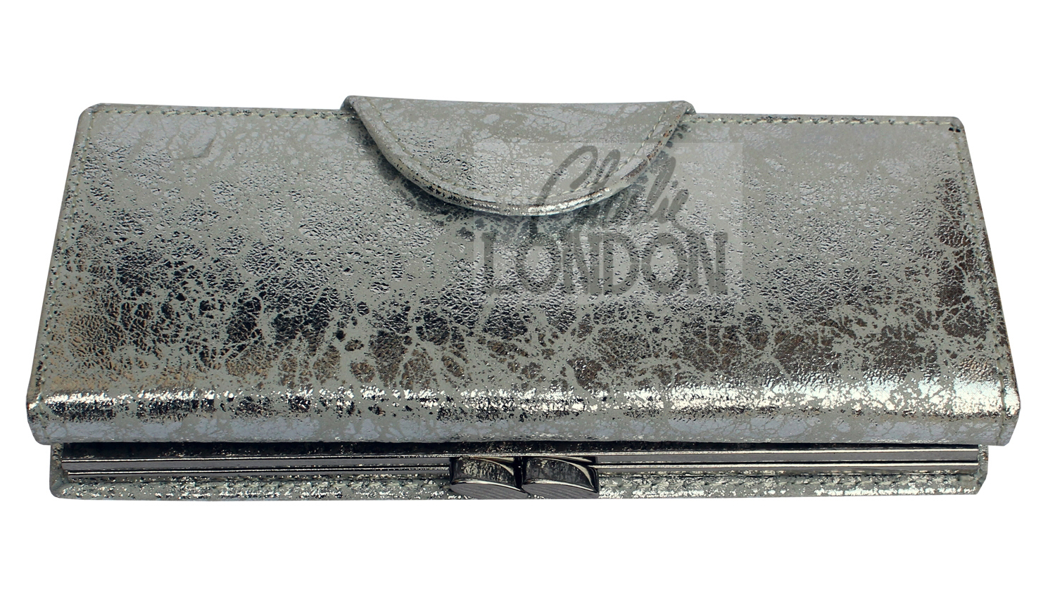 Womens Silver Metallic Clasp Purse Wallet