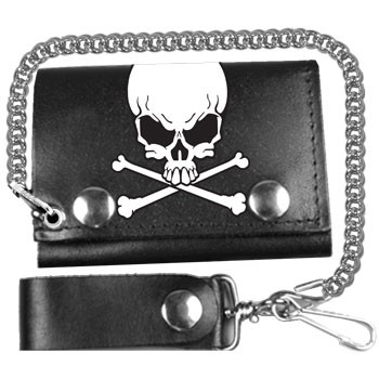 Skull and Crossbones Leather Wallet