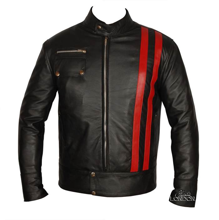 Smart Cafe Racer Retro Style Striped Leather Jacket