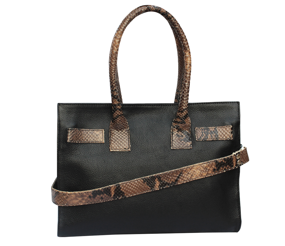 Snake Print Black Leather Tote Handbag
