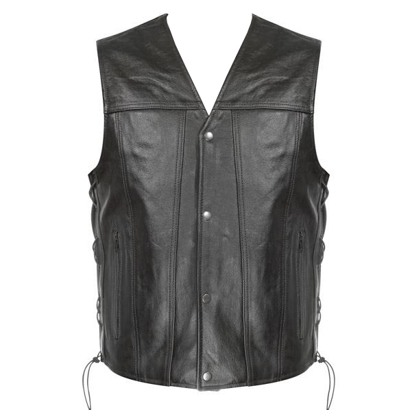Men's Snap Button and Lace Black Leather Vest