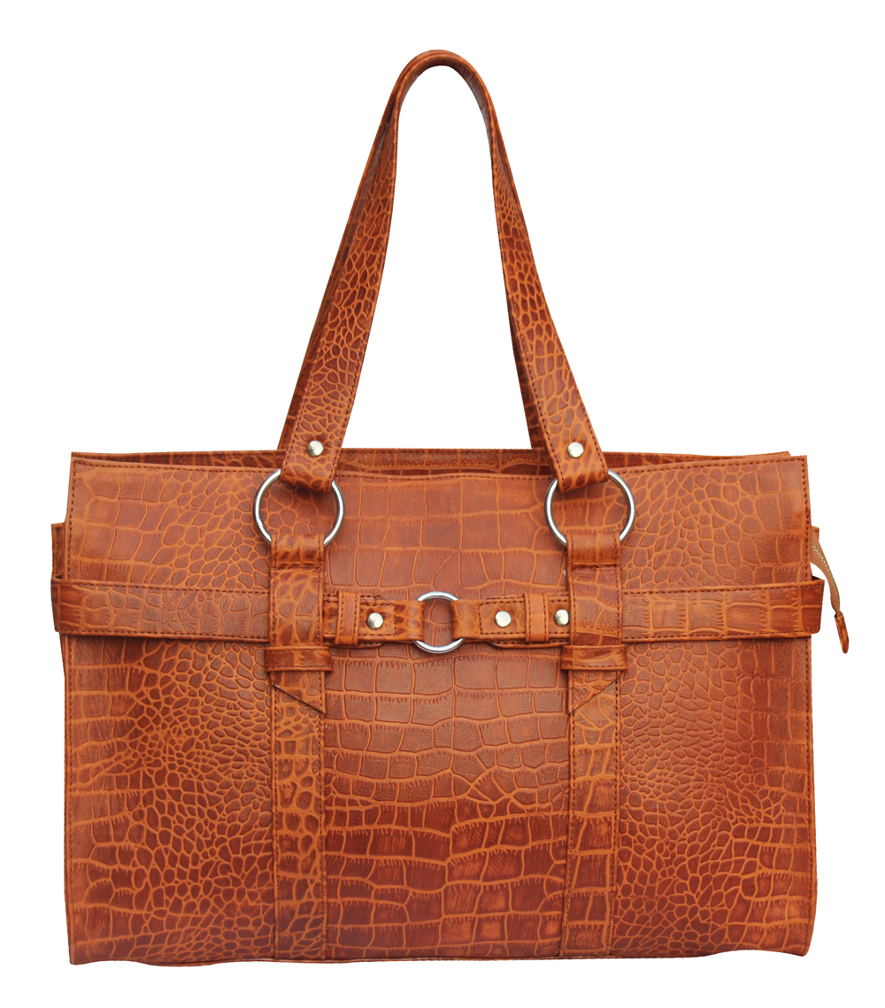 Tan Crocodile Textured Leather Handbag Tote