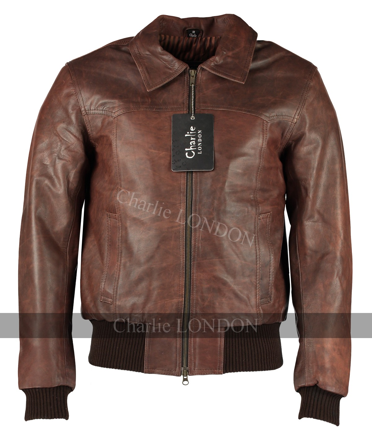 The Deal Vintage Bomber Style Leather Jacket