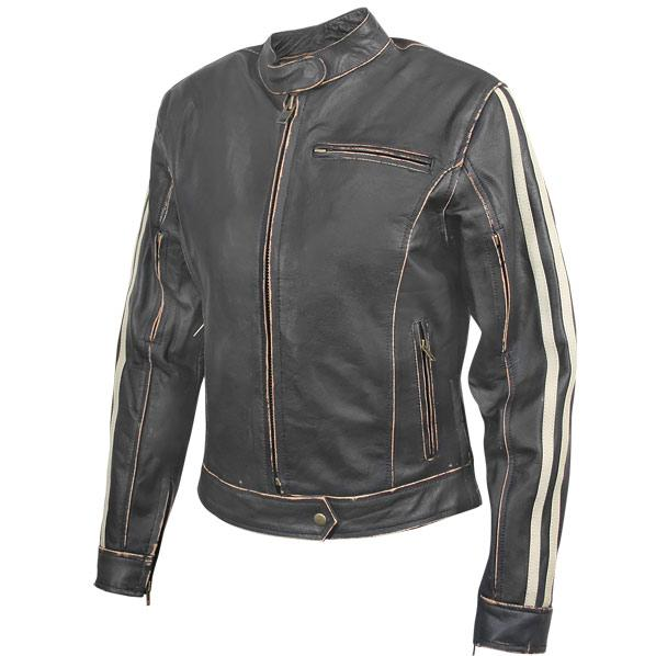 Women's Dark-Brown Vintage Motorcycle Jacket with Beige Stripes