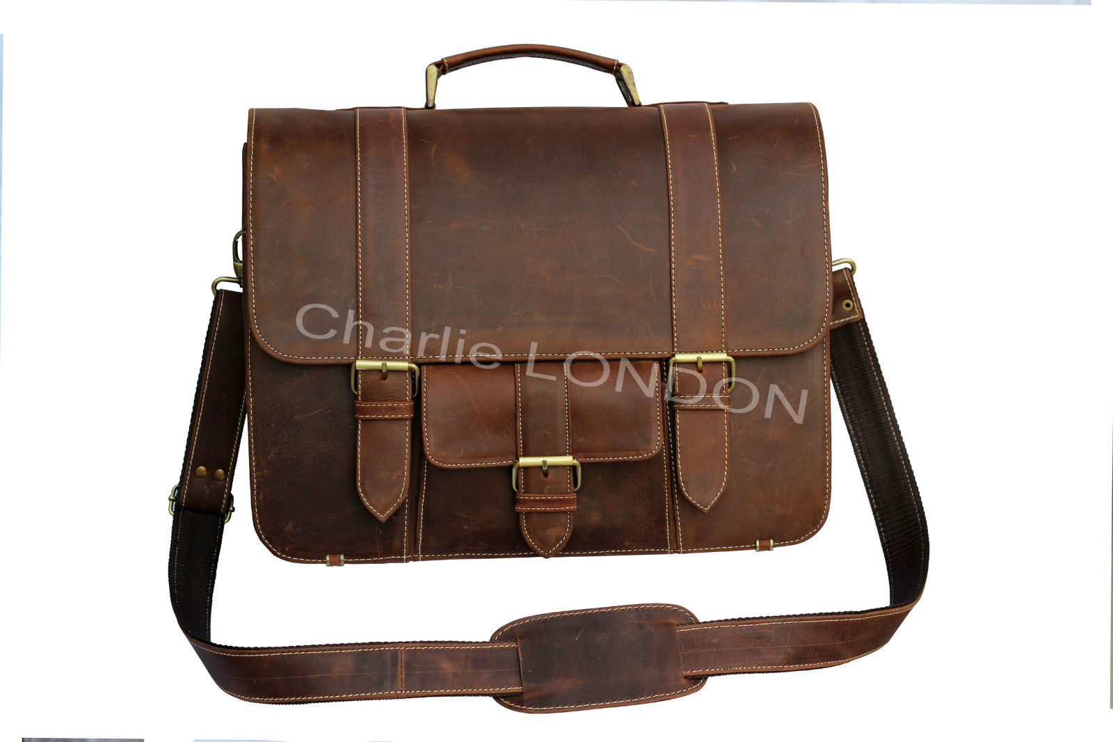 Vintage Brown Macbook Office Laptop Leather Bag