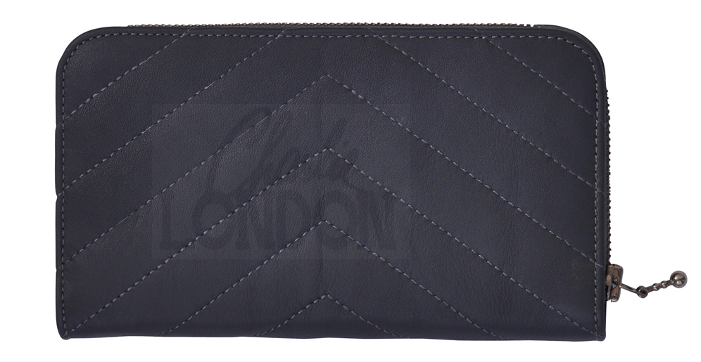 Women's Fashion Dark Grey Leather Purse Wallet