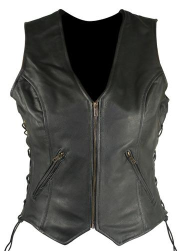 Women's Classic Side Lace Cowhide Leather Vests
