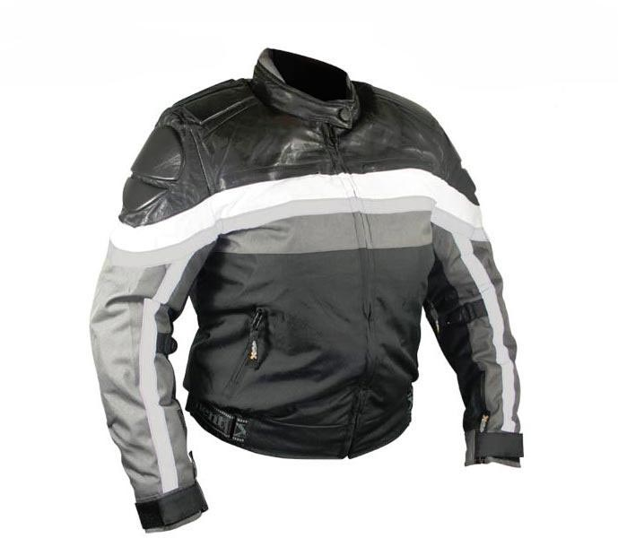 Ladies Armored Black and Grey Fabric with Leather Premium Jacket