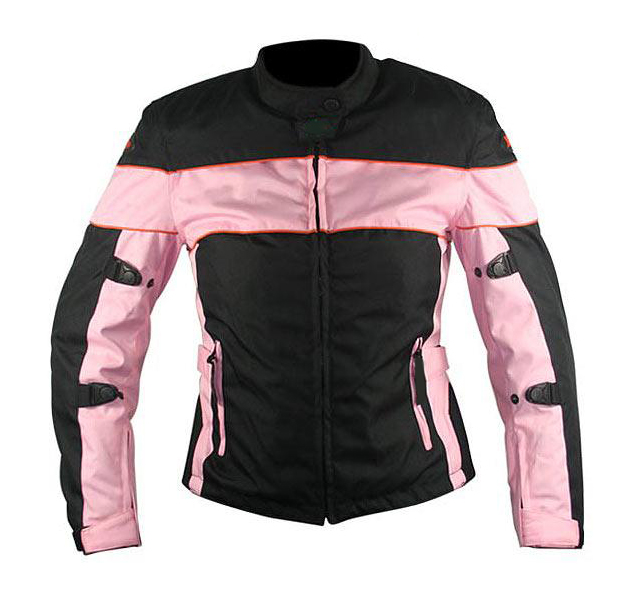 Ladies Black and Pink Fabric Motorcycle Jacket with Level-3 Advanced Armored
