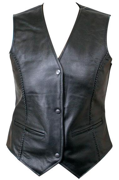 Women's Leather Braided Vest