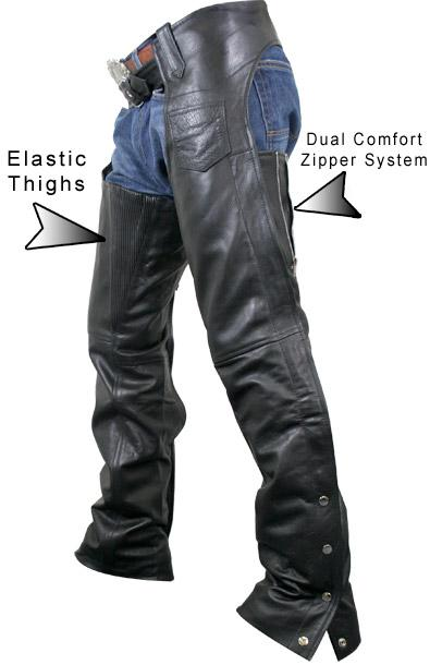 Women's Advanced Dual Comfort Leather Chaps Elastic Thigh