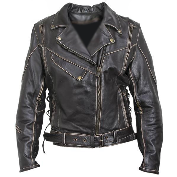 Womens Antique-Brown Rub-Off Motorcycle Jacket