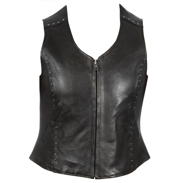 Women's Studded Zipper Front Motorcycle Leather Vest